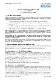 1 Ziel des Dokuments 2 Aufgaben des Teilnehmerservice (TS)