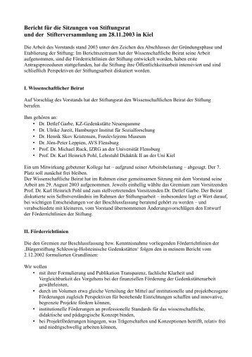 Bericht für die Sitzungen von Stiftungsrat und der ...