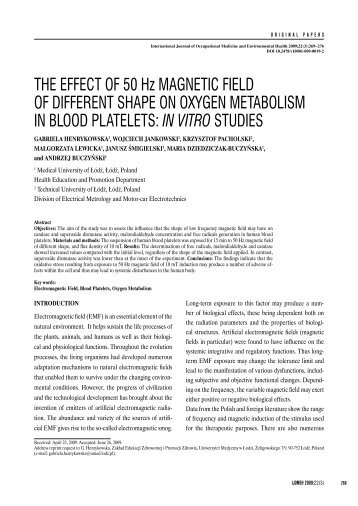 THE EFFECT OF 50 Hz MAGNETIC FIELD OF DIFFERENT SHAPE ...