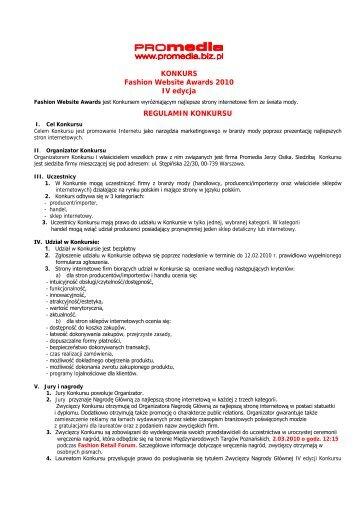 KONKURS Fashion Website Awards 2010 IV edycja REGULAMIN ...