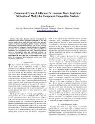 Component Oriented Software: Development Tools, Analytical ...