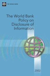The World Bank Policy on Disclosure of Information