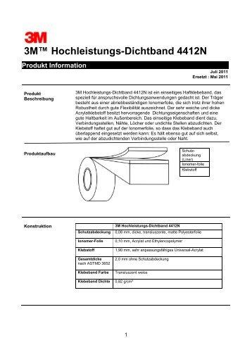 3M™ Hochleistungs-Dichtband 4412N Produkt Information