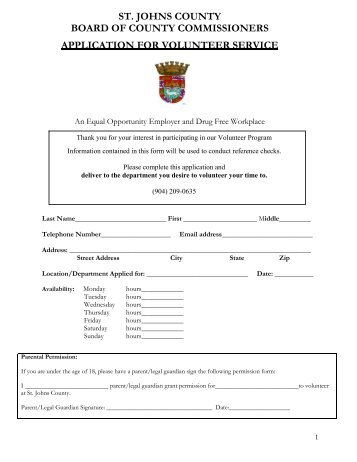 st. johns county board of county commissioners application