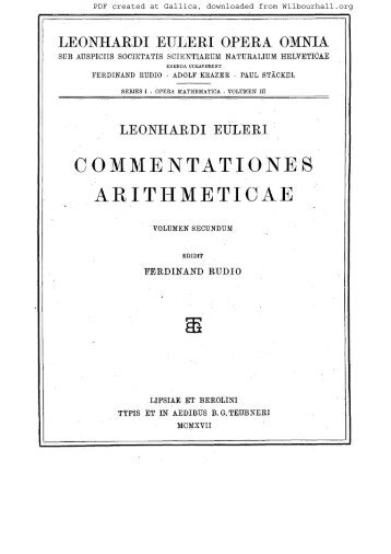 Euler, Leonhard (1707-1783). Opera mathematica ... - Wilbourhall.org