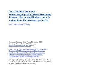 Sven Wimnell 8 mars 2010 : Politik i början på 2010 ... - Wimnells