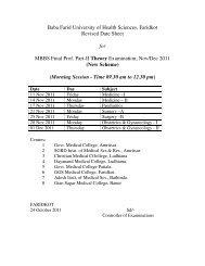 Date Sheet MBBS - Second Prof/Final Prof Part - I / Final Prof Part