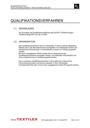 Bildungsplan Teil C/Qualifikationsverfahren