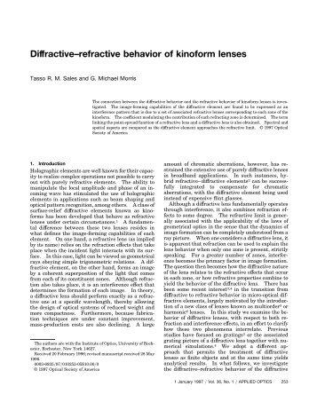 Diffractive refractive behavior of kinoform lenses - Apollo Optical ...