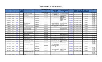 ANULACIONES DE PATENTES 2013