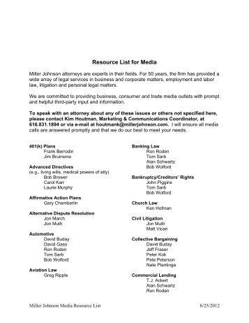 Resource List for Media - Miller Johnson