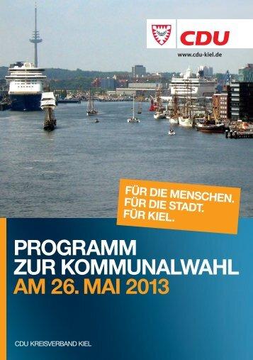 Programm ZUr KommUnalwahl am 26. mai 2013