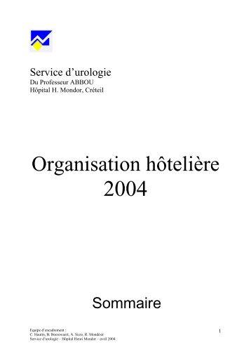 Organisation hôtelière - Service d'Urologie CHU Henri Mondor