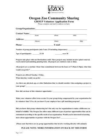 GROUP Volunteer Application Form - Oregon Zoo