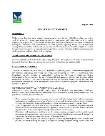 Job Description: Sr Project Engineer   City Of Tigard
