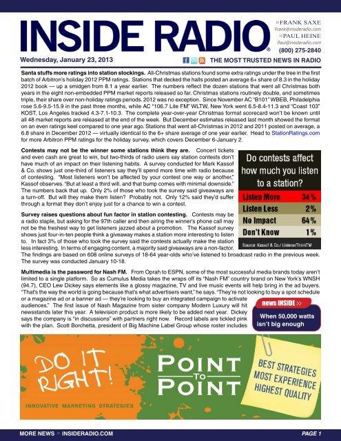news INSIDE >> Wednesday, January 23, 2013