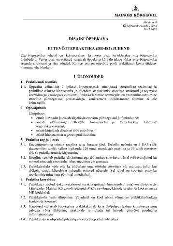 Ettevõttepraktika juhend _DB-482_ Disaini õppekava 2009_2010