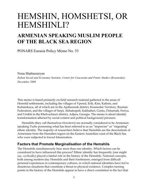 HEMSHIN, HOMSHETSI, OR HEMSHINLI? - PONARS Eurasia