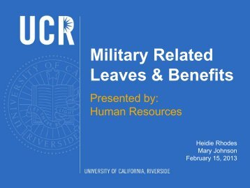 Military-Related Leaves & Benefits Presentation - Human Resources