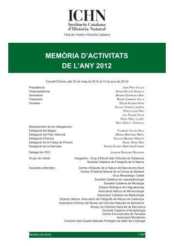 Memoria 2012.indd - Institució Catalana d'Història Natural - Institut d ...