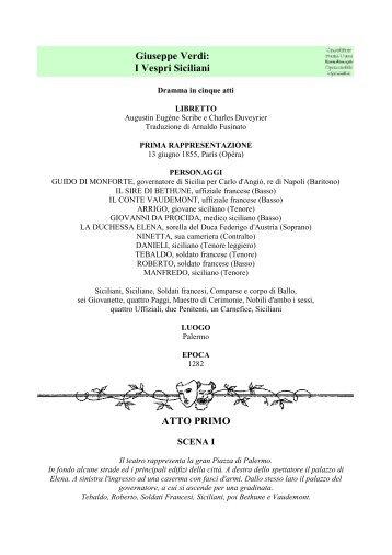 Giuseppe Verdi: I Vespri Siciliani ATTO PRIMO - La Musica e il ...
