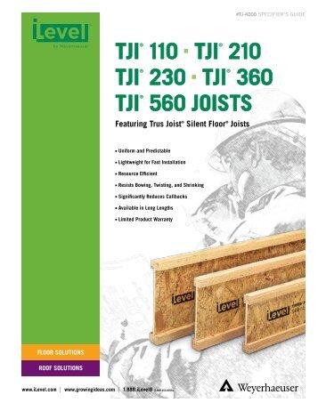Trus joist commercial tji l65 l90 h90 nad hs90 for Tji 210