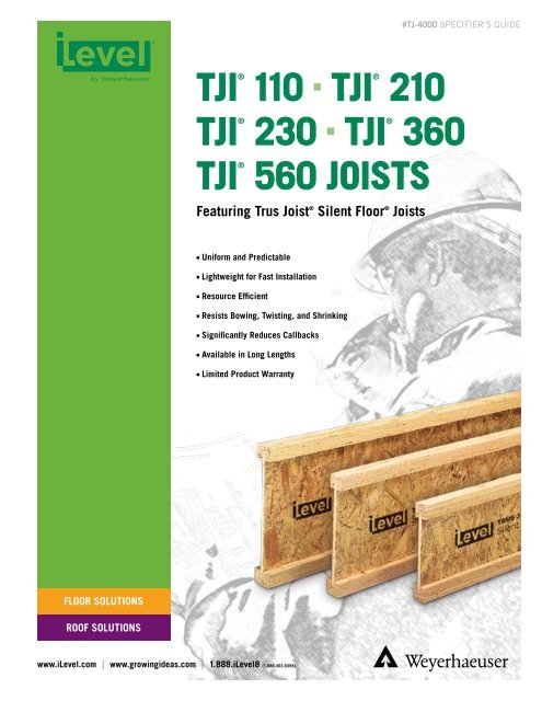 TJI 110 210 230 360 And 560 Joist Specifier S Guide