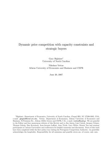 Dynamic price competition with capacity constraints and strategic ...