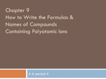 Write the Formulas & Names of Compounds Containing Polyatomic ...