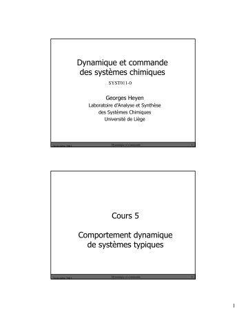 Dynamique etcommande des systèmes chimiques Cours 5 ... - LASSC