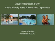 aquatic recreation facilities? - City of Hickory