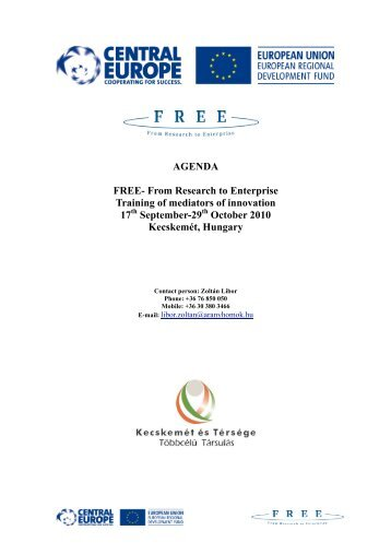 AGENDA FREE- From Research to Enterprise Training of mediators ...