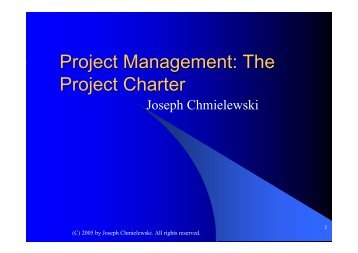 Project Management: The Project Charter - Classroom Toolkit