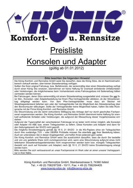 Konsolenliste mit Preisen und Hinweisen - König Komfort- und ...