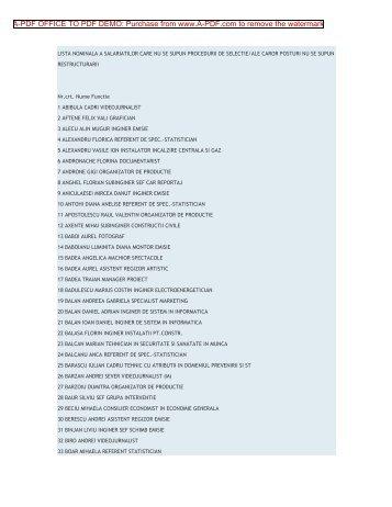 lista nominala a salariaţilor care nu se supun ... - Ziua Veche