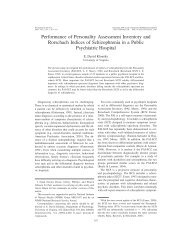 Performance of Personality Assessment Inventory and Rorschach ...