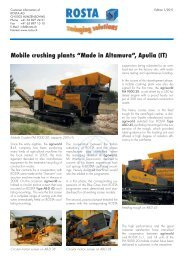 "Mobile crushing plants ""Made in Altamura"", Apulia (IT) - ROSTA Inc."