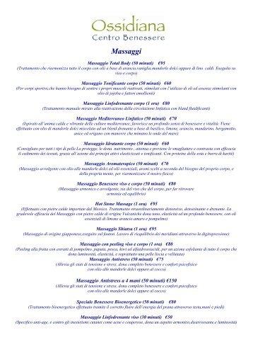 Listino Trattamenti Centro Benessere Ossidiana