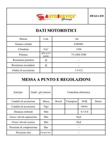 dati motoristici messa a punto e regolazioni - AutoService Group