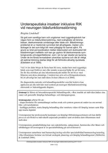 Uroterapeutiska insatser inklusive RIK vid neurogen ... - BLF