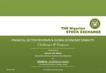 Financial Sector Reforms & Global Economic Stability - The Nigerian ...