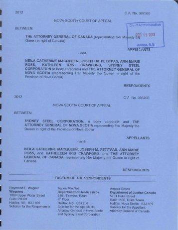 February 15, 2013 - Plaintiffs' Factum re - Wagners