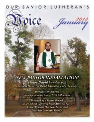 NEW PASTOR INSTALLATION! - Our Savior Lutheran Church
