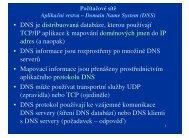 • DNS je distribuovaná databáze, kterou používají TCP/IP ... - eAMOS