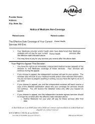 Notice Of Medicare Non Coverage - AvMed