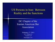 US Persons in Iran: Between Reality and the Sanctions - Venable LLP