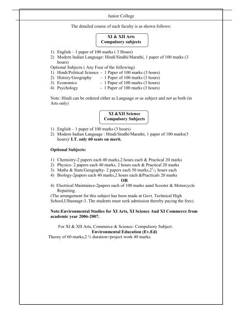 Junior College The detailed course of each faculty is as