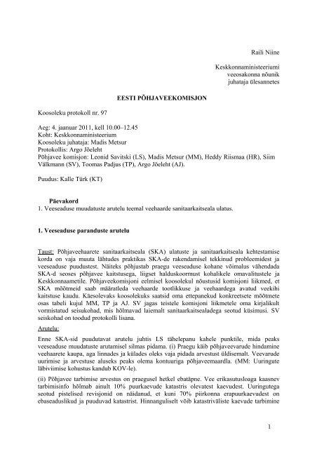 Pohjaveekomisjoni koosoleku protokoll nr 97