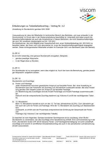 Erlãuterungen Zu Teilzeitarbeitsvertrag â Vertrag Nr 31 Viscom