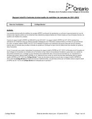 Rapport relatif à l'entente pluriannuelle de reddition ... - Collège Boréal